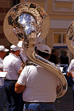 Reflections on a silver tuba, house facade in Bad Toelz, Upper Bavaria, Bavaria, Germany, Europe