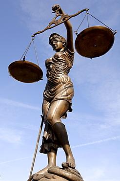 Lady Justice, bronze statue, Bamberg, Upper Franconia, Bavaria, Germany