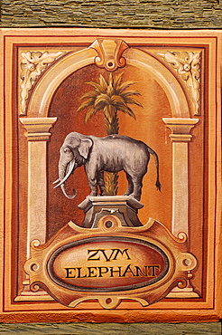 Painting for the Guesthouse Zum Elephant, Ribeauvillee, Alsace, France, Europe