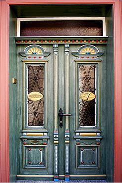 Decorative historic main door, Wernigerode, Saxony-Anhalt, Germany, Europe