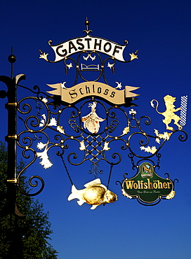 Sign for a restaurant, Eckental, Middle Franconia, Bavaria, Germany, Europe