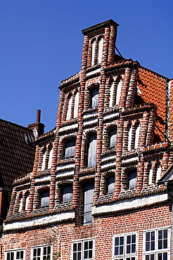 Gothic stepped gable, Lueneburg, Lower Saxony, Germany, Europe