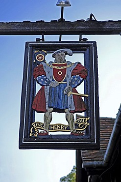 Sign of the Heinrich der VIII Restaurant, Hever, County of Kent, England, Great Britain, Europe