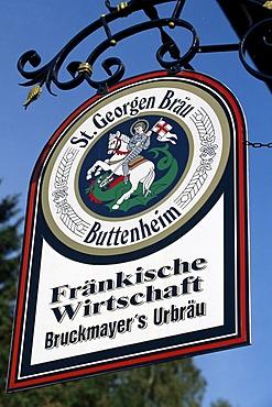 Brewery sign, Buttenheim, Franconian Switzerland, Bavaria, Germany