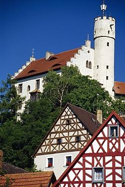 Timbered houses, Goesweinstein, Franconian Switzerland, Bavaria, Germany