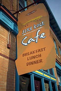 Slick rock cafe sign, Slickrock, Utak, USA