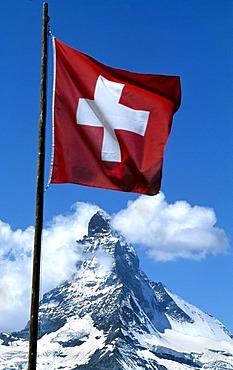 Swiss flag, Matterhorn, Wallis, Switzerland