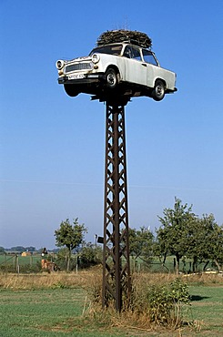 Trabant, stork's nest, Neustrelitz, Mecklenburg-Vorpommern, Germany