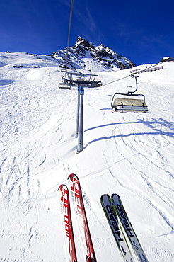 Ski lift going up to Mt. Ballunspitze, Galtuer, Tirol, Austria, Europe