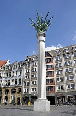 Nikolaikirchhof Churchyard, column, monument to the peaceful revolution of 1989, Leipzig, Saxony, Germany, Europe