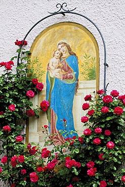 Wall painting, Oberammergau, Upper Bavaria, Germany, Europe