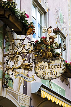 Shop sign advertising a bakery, Garmisch-Patenkirchen, Werdenfelser Land, Upper Bavaria, Bavaria, Germany, Europe