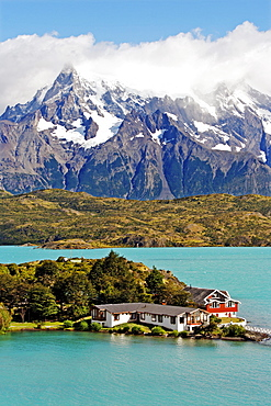 Lodge Hosteria Pehoe on Lake Pehoe, Torres del Paine National Park, Patagonia, Chile, South America