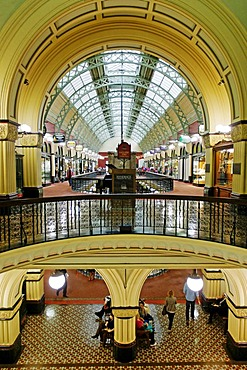 Interior shot of the architecture of the historic Queen Victoria Shopping Mall, Sydney, New South Wales, Australia