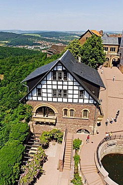 Hall in the Wartburg Castle, view of the Thueringer Wald, Thuringia Forest, Eisenach, Thuringia, Germany, Europe