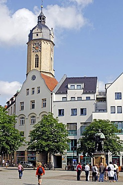 Market square of Jena and the town Church of St. Michael, Thuringia, Germany, Europe
