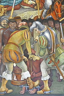 Detail, wall mural painting, Palacio Nacional Palace, Zocalo, Mexico City, Mexico, Central America