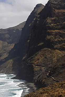 Steep coastline and black sand beaches of Santo Antao Island, Cape Verde, Africa