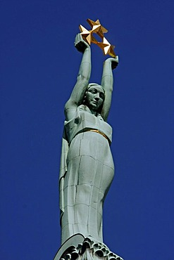 Allegory of Freedom statue on top of the Freedom Memorial in Riga, Latvia, Baltic states