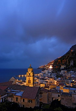 The town of Amalfi by night, Campania, Italy, Europe