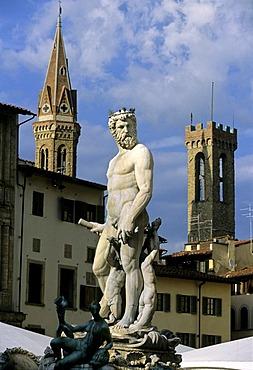 Badia Fiorentina, Statue of Neptune, Il Biancone, Bargello, Florence, Firenze, Tuscany, Italy, Europe