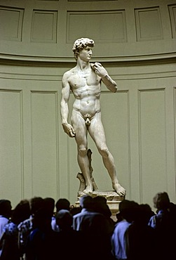 Original marble statue of David by Micelangelo, Galeria della Accademia, Florence, Firenze, Tuscany, Italy, Europe