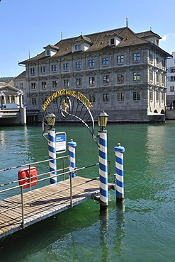 Pier at Storchen Hotel and the City Hall, Zurich, Switzerland, Europe