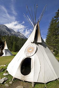 Indian village in the Gaistal Valley, Tyrol, Austria, Europe