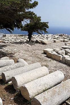 Antiques ruines of old Thira, mountain Messavouno, Santorin, Aegean Sea, Greece, Europe