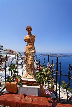 Statue, Fira, Santorin, Aegean Sea, Greece, Europe