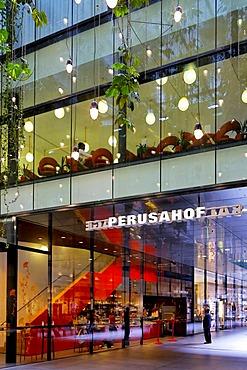 "Perusahof, Cafe Kunsthalle and Salvatorpassage, shopping arcade ""Fuenf Hoefe"" (Five Courts), Munich, Bavaria, Germany"