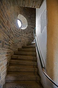 Staircase, former NS-Ordensburg Vogelsang (National Socialist estate), Eifel, North Rhine-Westphalia, Germany, Europe