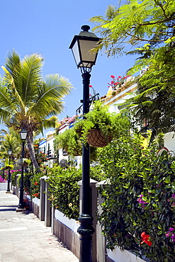 Street lamps, Puerto de Mogan, Gran Canaria, Canary Islands, Spain, Atlantic Ocean