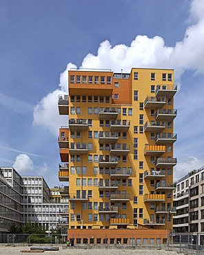 Famous tower block known as the Stele towering over the surrounding office buildings, Westend, Munich, Bavaria, Germany, Europe