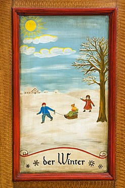 Winter, door panel of a farmer's wardrobe painted with the four seasons