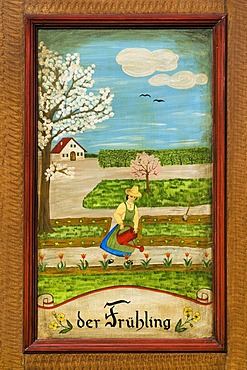 Spring, door panel of a farmer's wardrobe painted with the four seasons