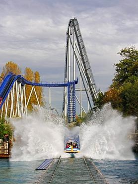 Water slide Poseidon and roller coaster Silverstar in the Europapark Rust, Baden-Wuerttemberg, Germany