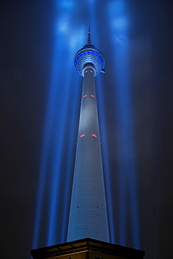 TV Tower on Alexanderplatz in Berlin during the Festival of Lights, Berlin, Germany, Europe