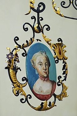 """Signboard with Mozart's sister """"Nannerl"""", St. Gilgen by the Wolfgangsee, Salzburg, Austria"""