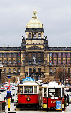 View of Wenceslaus Square and the National Museum in Prague, Czech Republic, Europe