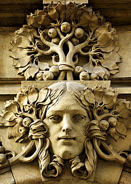 Stone face on a building facade in the historic centre of Prague, Czech Republic, Europe