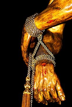 Jesus' hands bound in ropes, Semana Santa, Holy Week procession, Granada, Andalusia, Spain