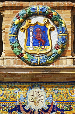 Coat of arms of Badajoz at the Palacio de Espana, Seville, Andalusia, Spain