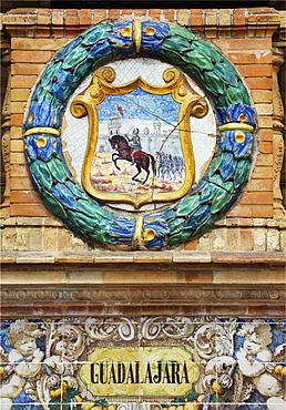 Emblem of Guadalajara on the palace Palacio de Espana, Seville, Andalusia, Spain