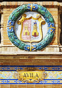 Coat of arms of Avila at Palacio de Espana, Seville, Andalusia, Spain