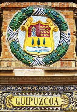 Coat of arms of Guipuzcoa at the Palacio de Espana, Seville, Andalusia, Spain
