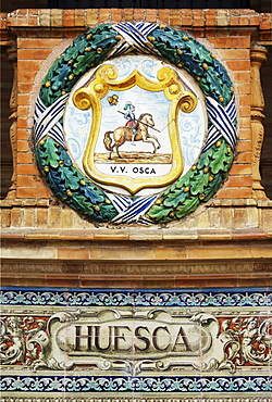 Coat of arms of Huesca at the Palacio de Espana, Seville, Andalusia, Spain