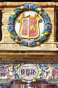Coat of arms of Burgos at the Palacio de Espana, Seville, Andalusia, Spain, Europe