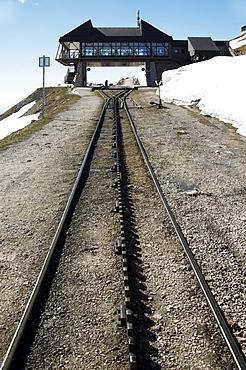 The Schafbergbahn, cog railway on the Schafberg mountain, station at the summit, Salzburg, Austria, Europe