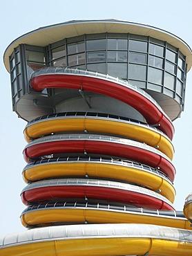 Water slide tower, hot springs Lutzmannsburg, Burgenland, Austria